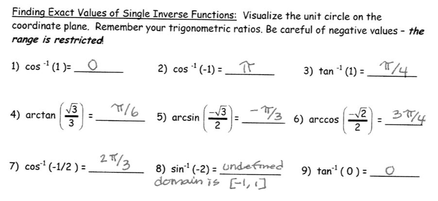 exact values of trig functions worksheet Termolak – Inverse Trigonometric Functions Worksheet