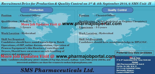 SMS Pharmaceuticals Ltd Walk In Drive for Multiple Positions (40 Positions) at 3 & 4  September