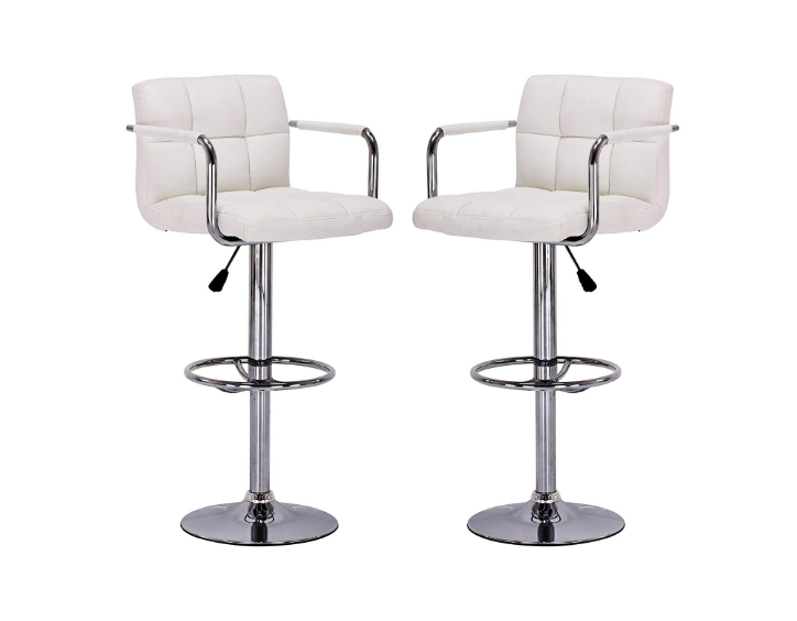 Vogue Furniture Direct White Leather Flexible Height Swivel Barstool