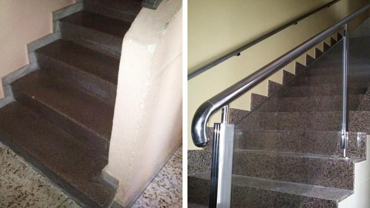 proyecto obra reforma portal contadores electricidad agua - escaleras