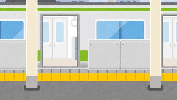 電車が来たホームドアのある駅のイラスト(開いた状態・背景素材)
