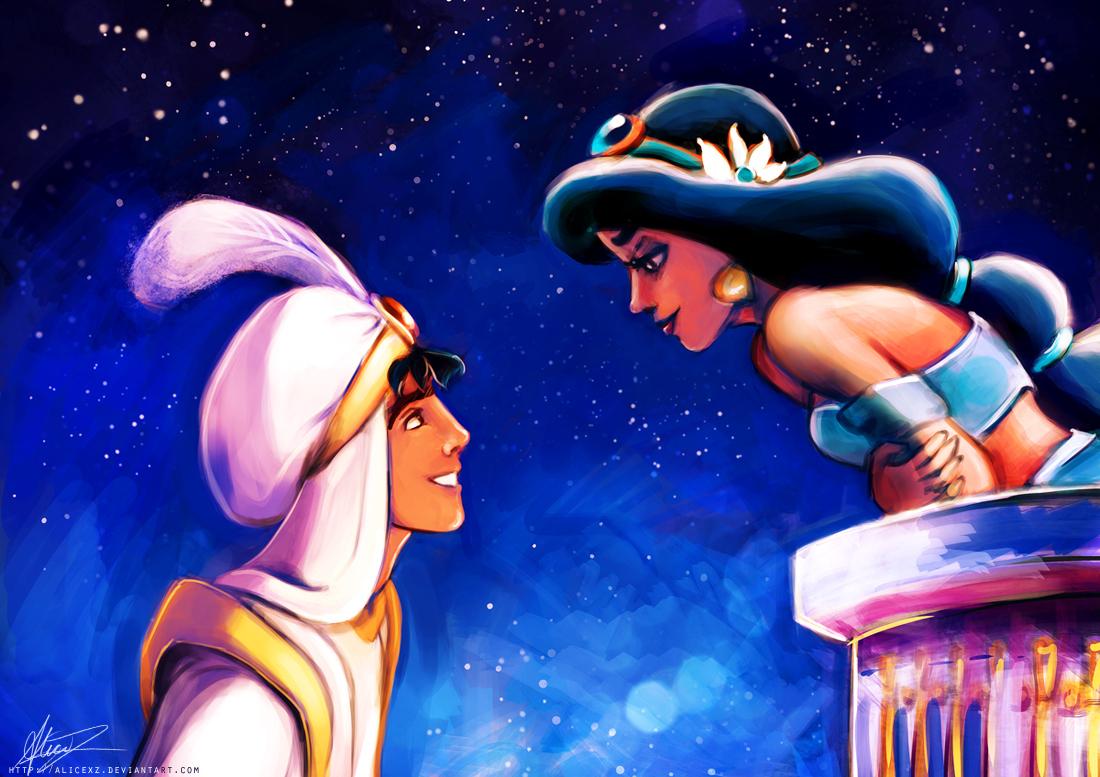 Aladdin: Walt Disney Couples Princess Jasmine & Prince Aladdin In Love