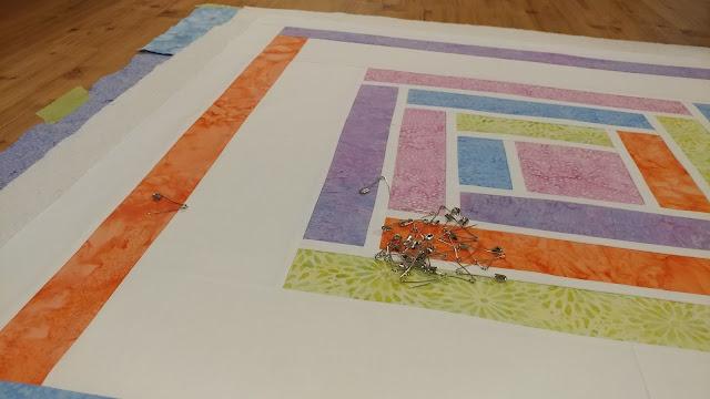 Island Batik modern pastel log cabin baby quilt