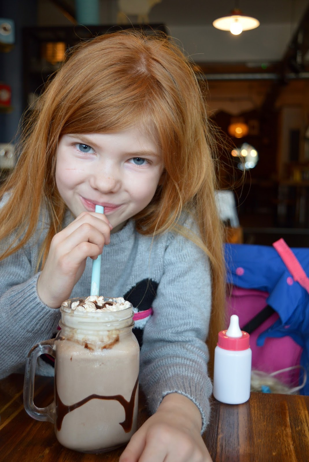 Meet and Treat Newcastle Cafe | A Perfect Spot for Pre-Theatre Drinks & Cakes with Kids for Tyne Theatre and Opera House - kids chocolate milkshake and cream