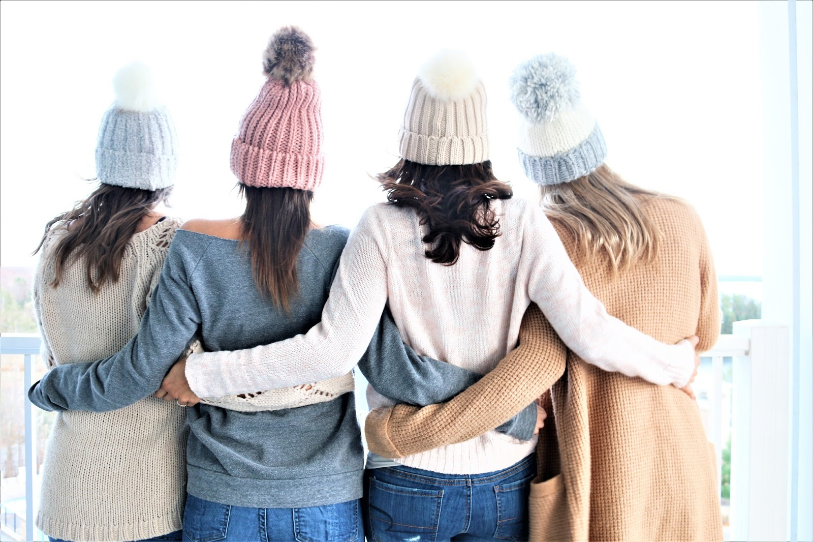 Bijuleni - 3 Things to Pack for a Girls Trip in the Fall - Cozy pom pom hats