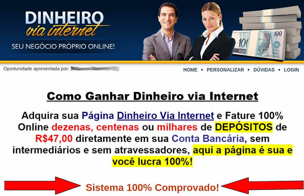 Ganhe R$47,00 por Venda Indicando a Página Dinheiro Via Internet