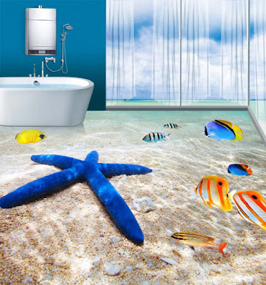 3D beached themed bathroom floor designs having starfish and koifish