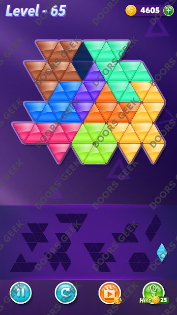 Block! Triangle Puzzle 9 Mania Level 65 Solution, Cheats, Walkthrough for Android, iPhone, iPad and iPod