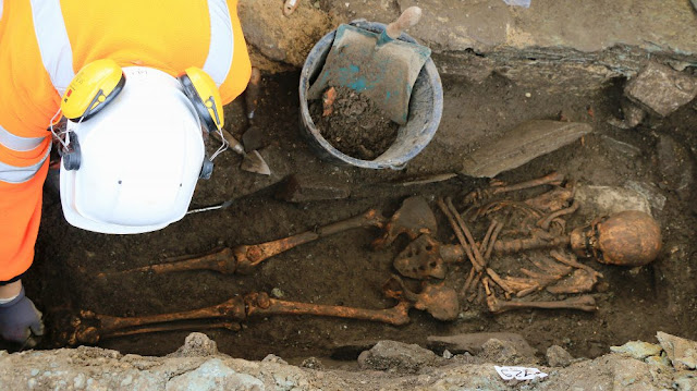 Medieval burial discovered under car park in French city of Cherbourg