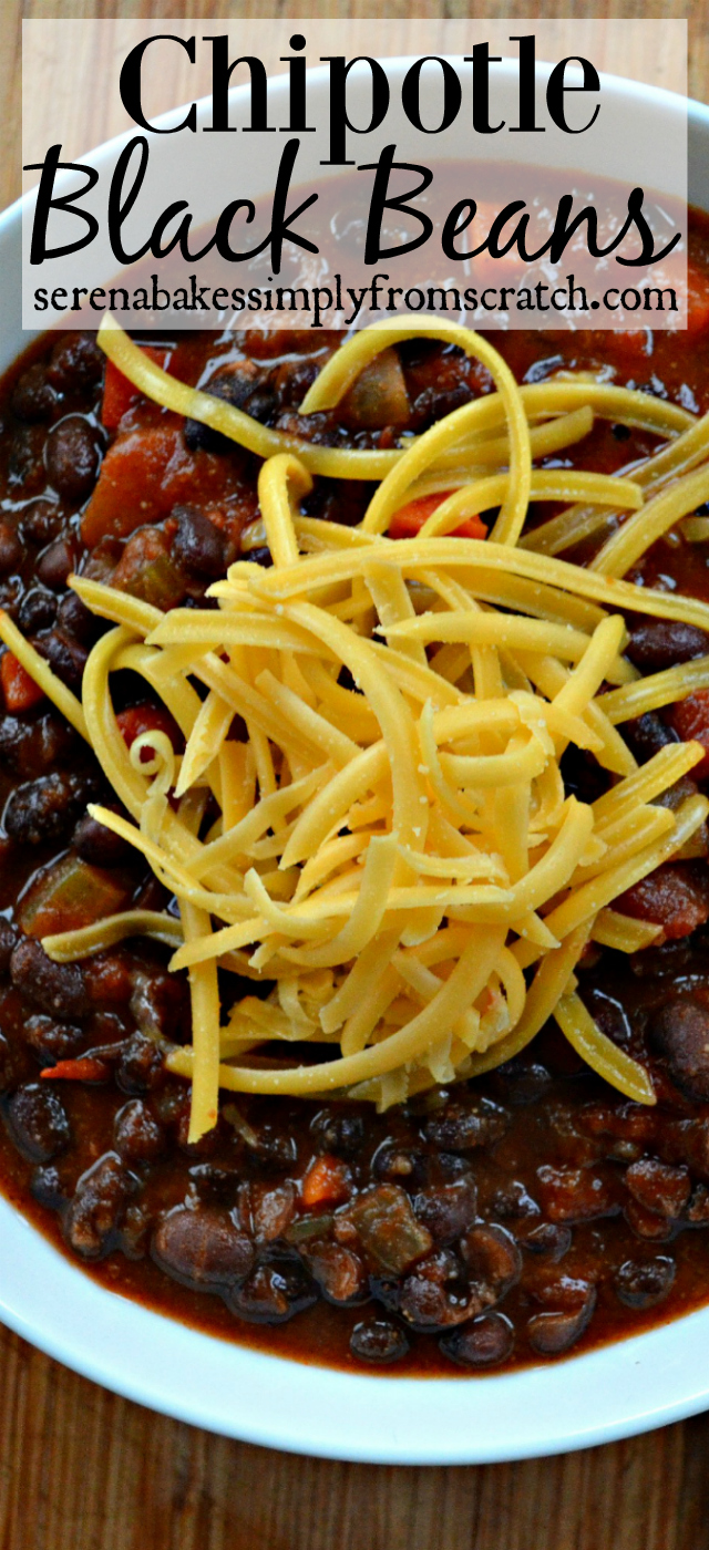 Chipotle Black Beans is an easy, inexpensive chili! serenabakessimplyfromscratch.com