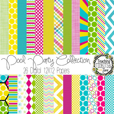 Digital Paper:  Pool Party Collection by Teaching Tidbits and More with Jamie