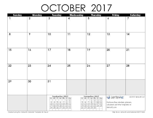 October 2017 calendar, October calendar 2017, October 2017 Printable Calendar, October 2017 calendar Printable, October 2017 Blank calendar, October 2017 calendar with Holidays