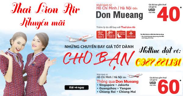 ưu đãi các chặng bay khởi hành từ TPHCM-Hà Nội hãng Thai Lion Air
