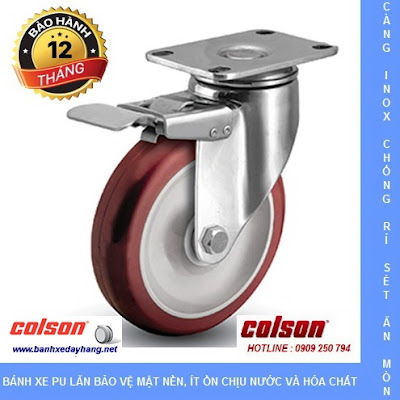 Bánh xe PU càng inox Colson Mỹ cho xe đẩy thủy sản tại Đồng Tháp www.banhxepu.net