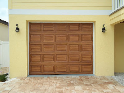single garage door painted to look like wood
