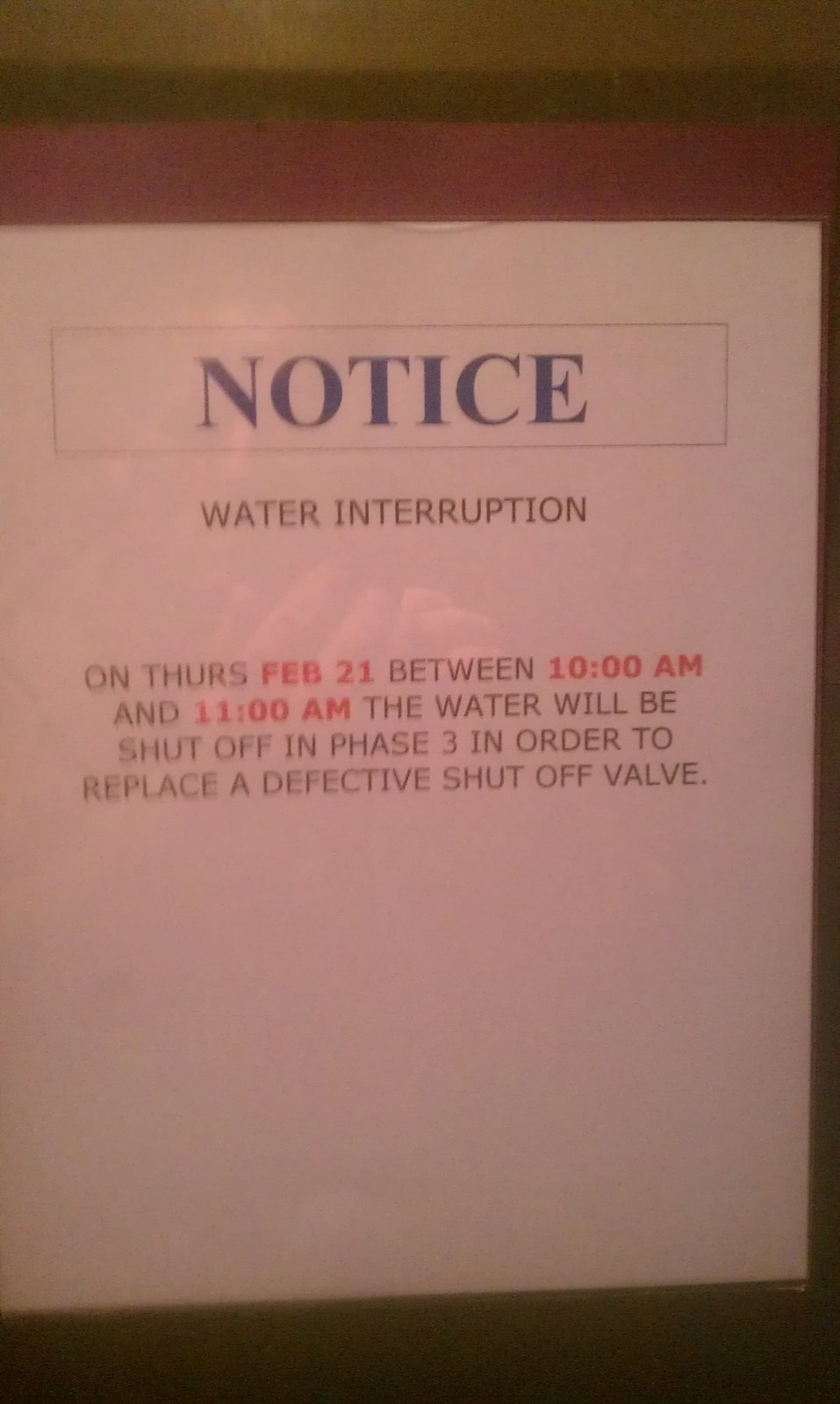 Stella Remodel Notice To Building On Water Shut Off To Re