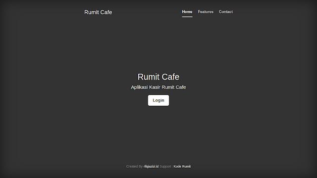 Halaman Awal Aplikasi Kasir Cafe Berbasis Web dengan PHP dan MySQL