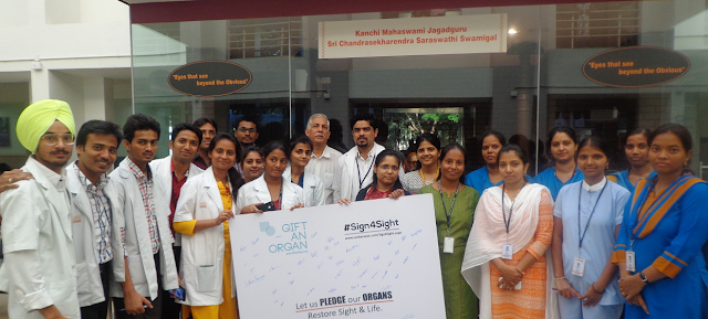 Staff at Sankara Eye Hospital Bengaluru pledge their organs on the occasion of Diwali