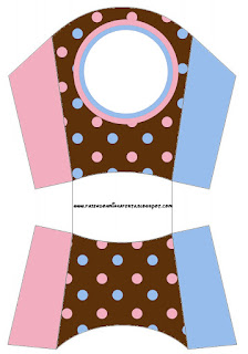 Pink and Light Blue Polka Dots in Chocolate Free Printable Fries Box.