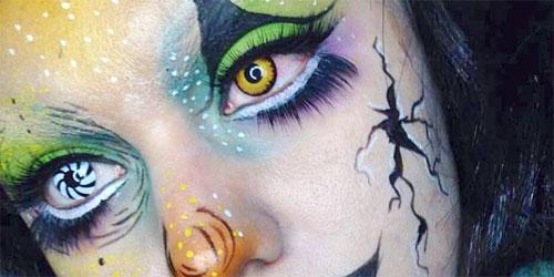 maquillaje de fantasía con lentillas de colores