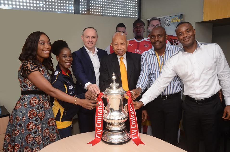5 Arsenal Lands In Nigeria With FA Cup, Visits MTN Head Office In Lagos (Photos)