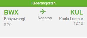 Jadwal Penerbangan Rute Kuala Lumpur Ke Banyuwangi (PP)