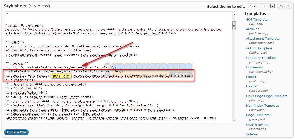 Setting Kode CSS