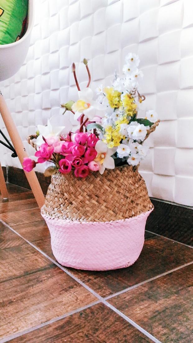 Cesto de vime, cesto de vime na decoração, decoração com cesto de vime, newchic, como decorar com cesto de vime, cesto de vime pintado, cesto de vime pintado de rosa