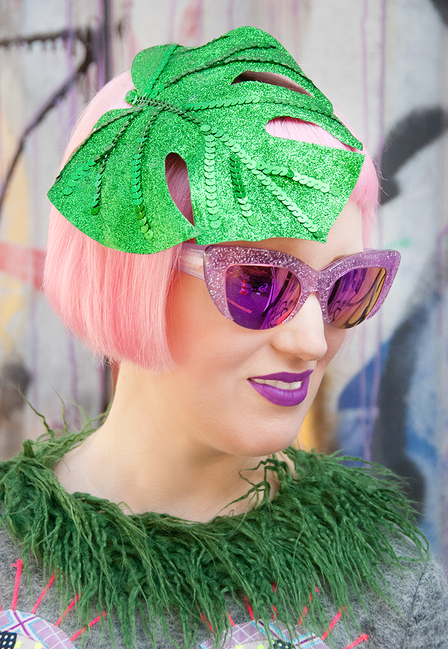 Peals & Swine, pink glitter sunglasses, leaf fascinator