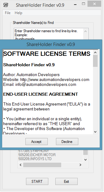 Shareholder Finder Software License Terms Window