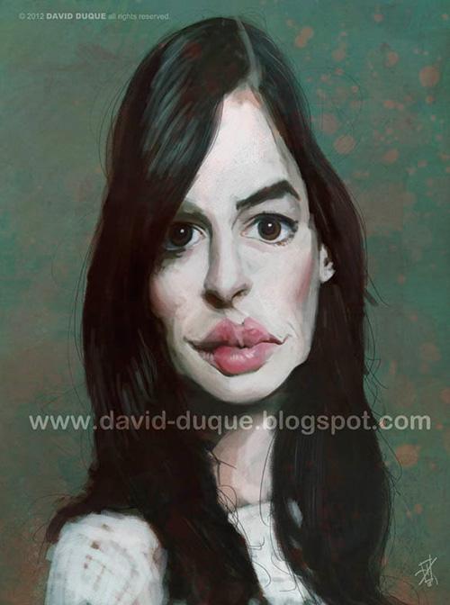 """Caricatura de """"Anne Hathaway"""" por David Duque"""