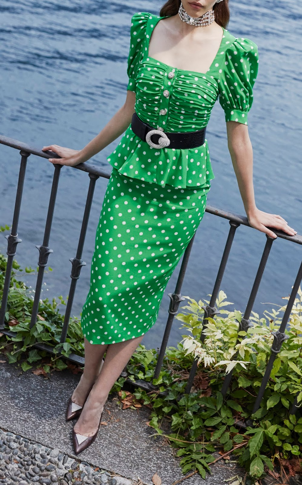 Alessandra Rich Spring 2019 Green Polka Dot dress