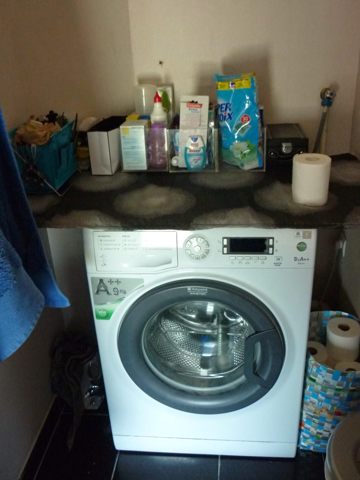 de brique et de brock plan de travail sur la machine laver. Black Bedroom Furniture Sets. Home Design Ideas