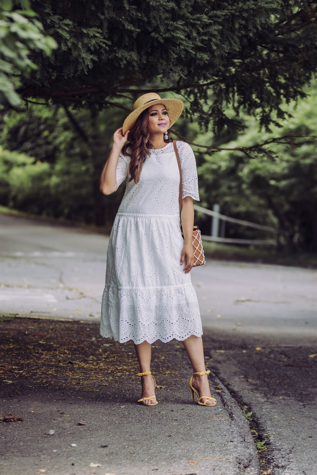 a southern belle, chicwish white eyelet dress, chichwish review, fashion blogger, style, sumer style, whote after labor day, instacool, ootd, yellow target sandlas, who what wear sandals, myriad musings