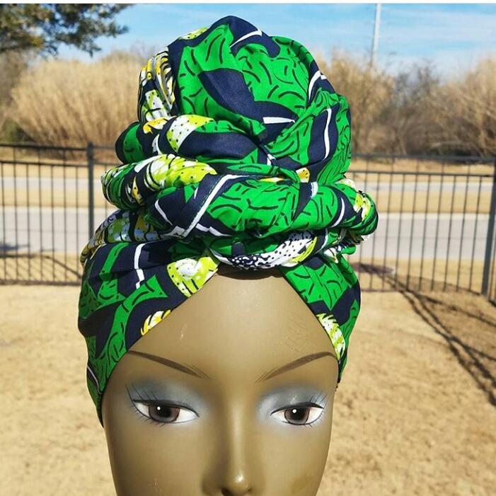 green ankara head wrap style