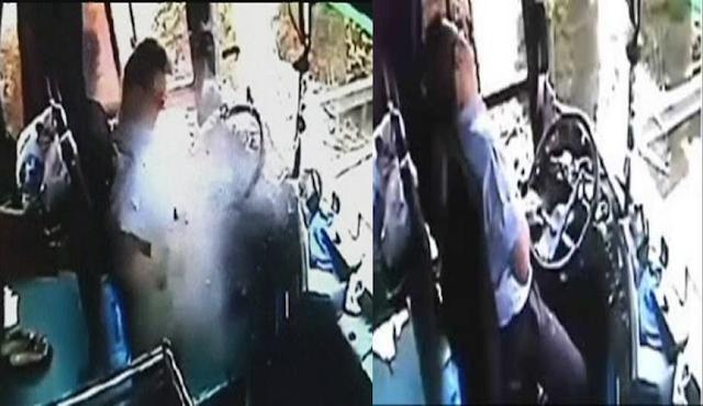 Bus Jadi Sasaran Lemparan Batu, Supir Bus Ini Masih Berusaha Menyelamatkan Penumpang