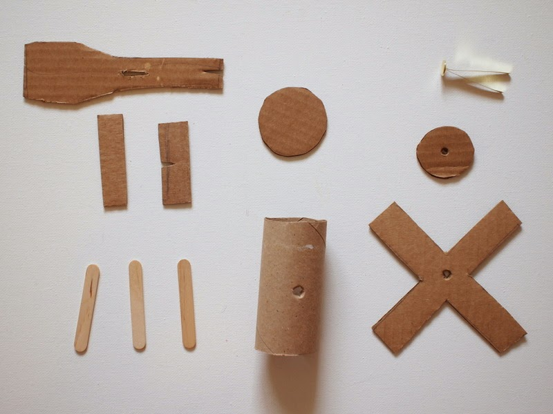 cut out all your cardboard helicopter parts