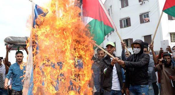 Manifiestación anti israel en Marruecos