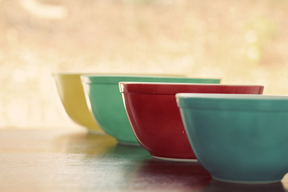 Yellow, greem red and blue vintage pyrex bowls for cooking
