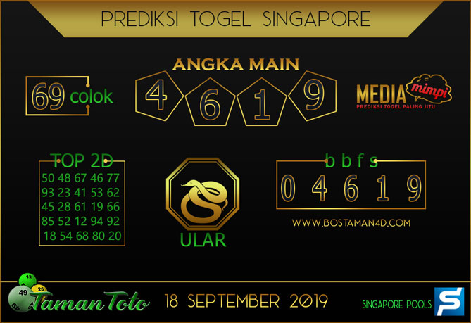 Prediksi Togel SINGAPORE TAMAN TOTO 18 SEPTEMBER 2019