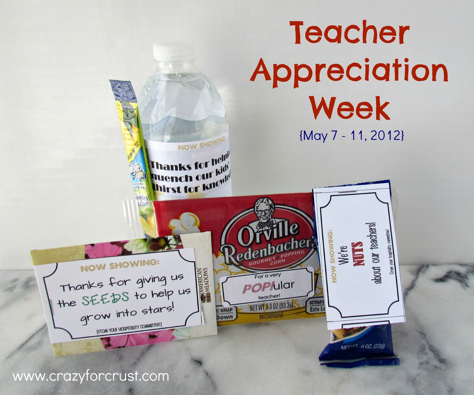 Teacher Appreciation Ideas (Free Printables) - Crazy for Crust