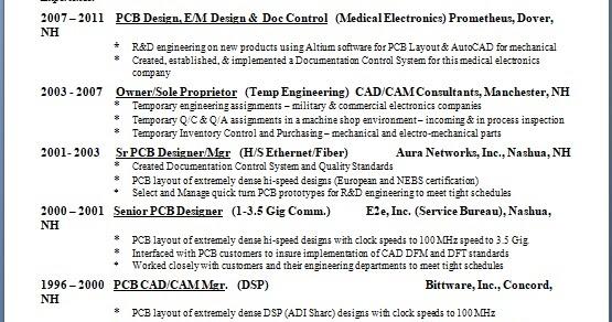 senior pcb designer sample resume format in word free download