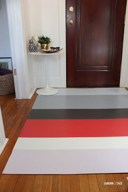 stripes floor mat in a foyer