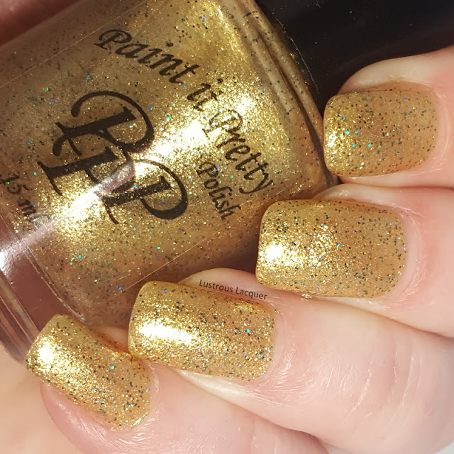 Yellow Gold Nail Polish with green micro glitter