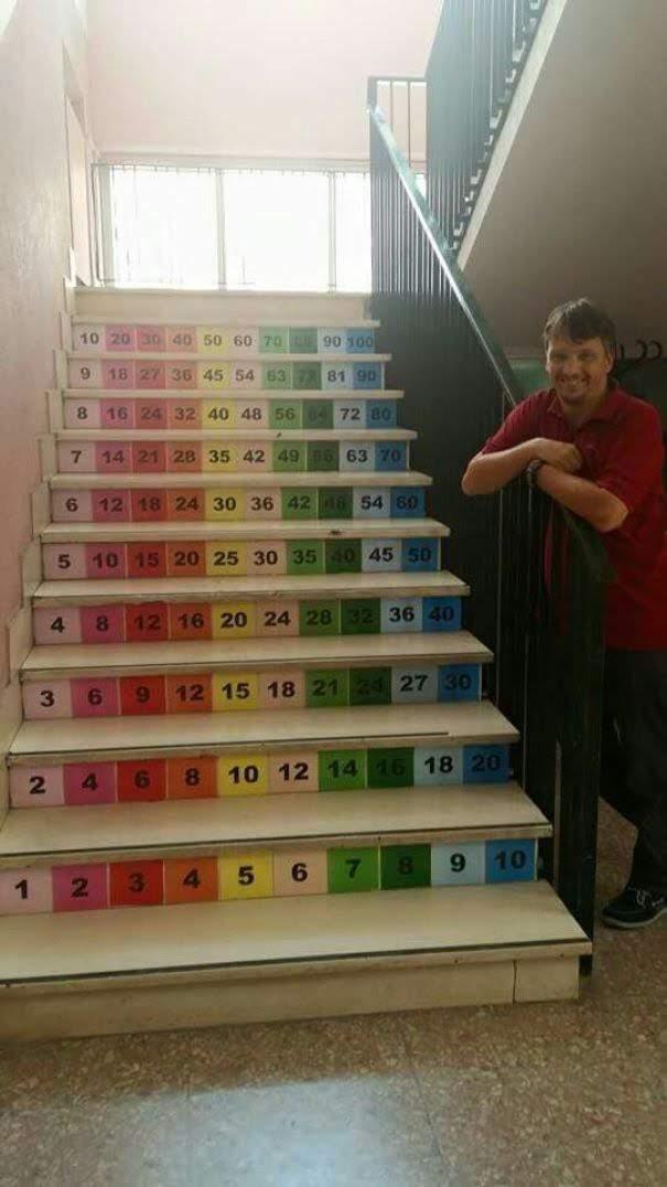 Multiplication stairway : 子どもたちが、ふだんの行動の中で自然と九九が覚えられるように配慮した算数階段 ! !
