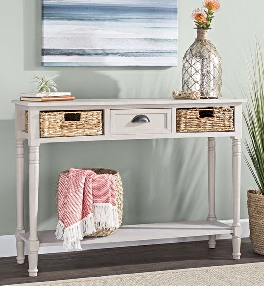 White Console Table with Basket 2 Drawers
