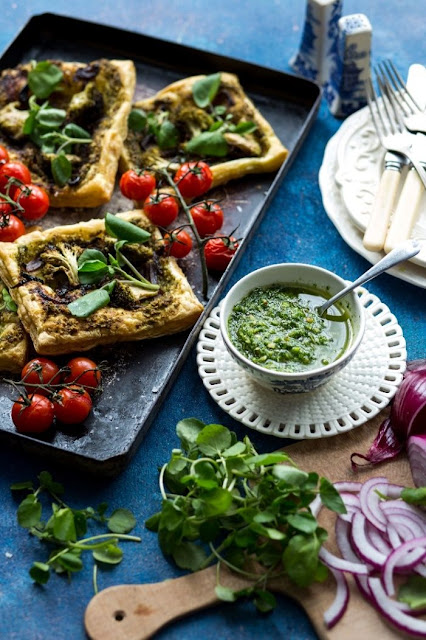 Red Onion Tart with Watercress Pesto & Roasted Cherry Tomatoes