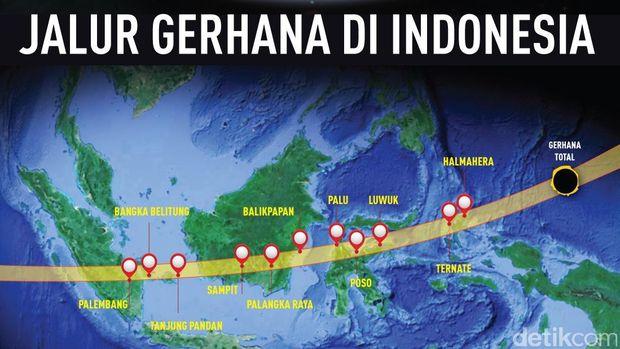 inilah 11 daerah indonesia yang dilewati gerhana matahari total