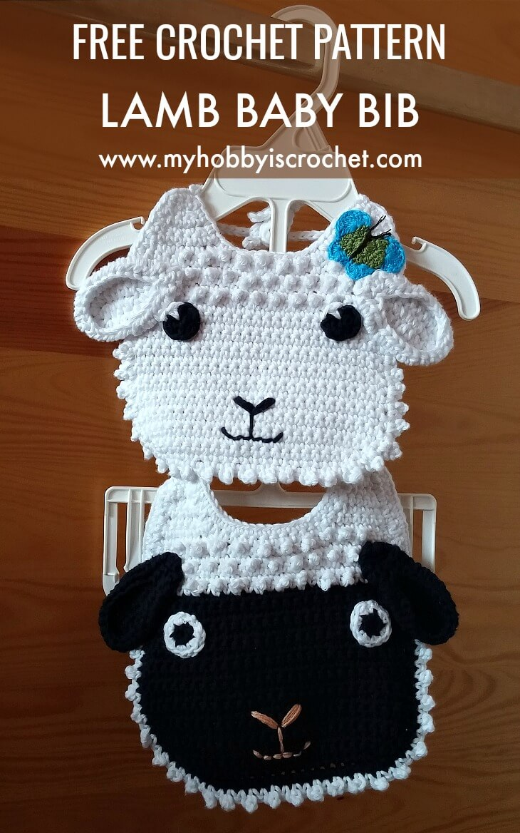 Little Lamb Crochet Baby Bib -  Free Crochet Pattern
