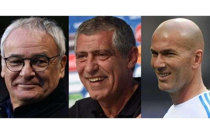 Claudio Ranieri, Fernando Santos e Zinedine Zidane